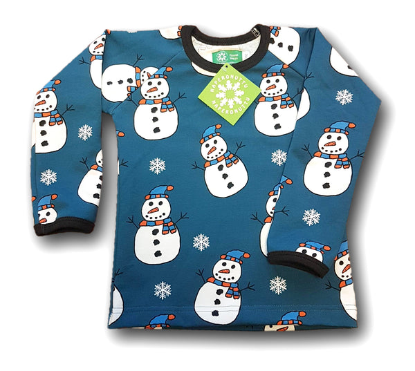NAPERONUTTU organic stretch college cotton long sleeved top SNOWMAN