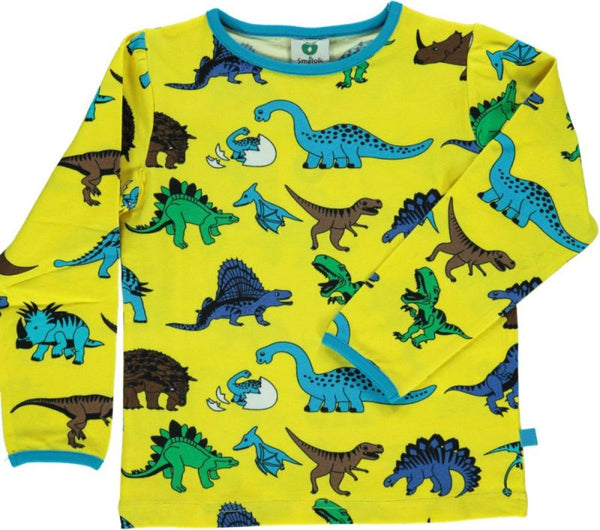SMAFOLK organic cotton long sleeved top DINO/YELLOW