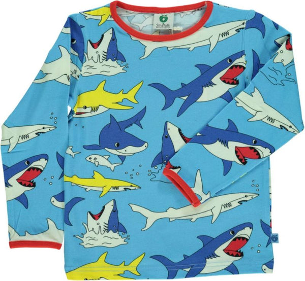SMAFOLK organic cotton long sleeved top SHARKS/BLUE