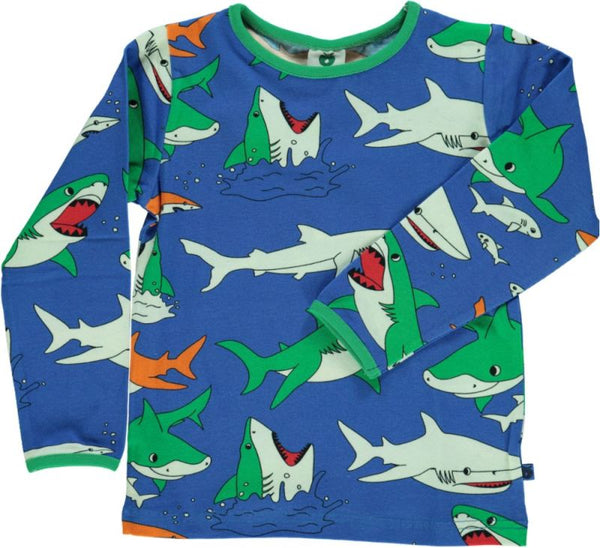 SMAFOLK organic cotton long sleeved top SHARKS/NAVY
