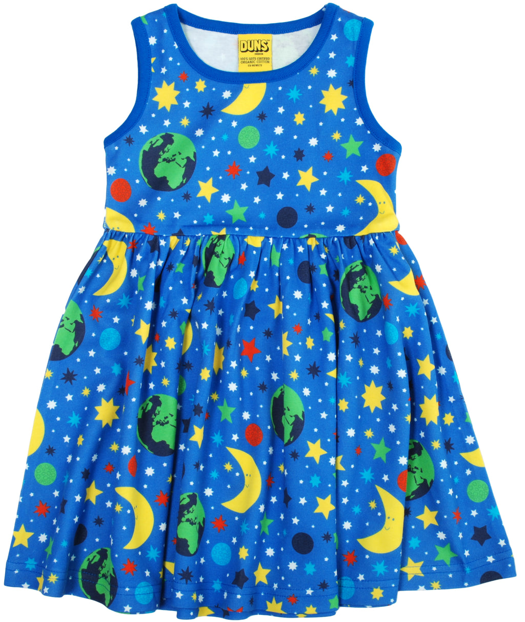 DUNS organic cotton sleeveless twirly dress MOTHER EARTH/BLUE (158 ONLY)