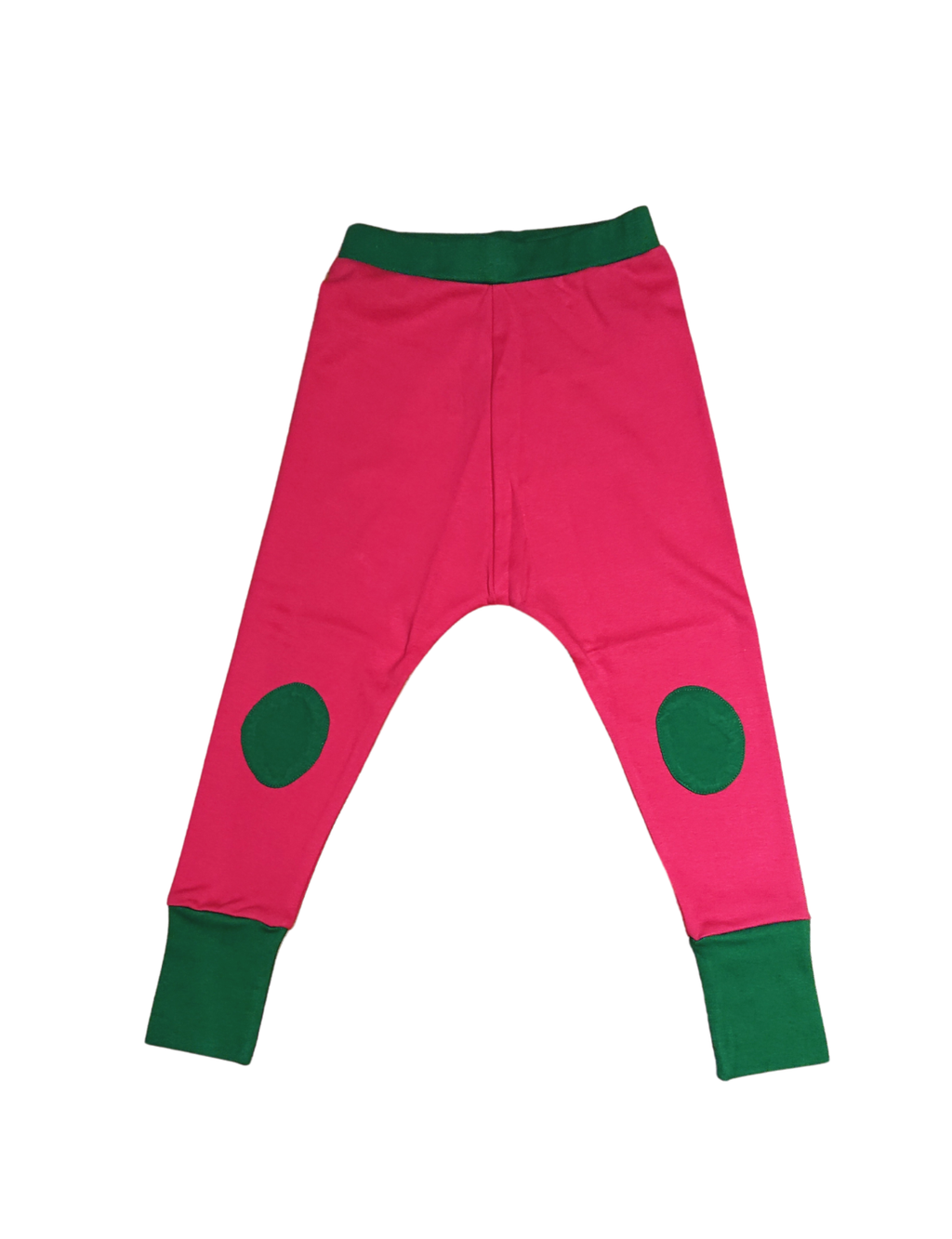 MOROMINI organic cotton joggers with patches PINK/GREEN