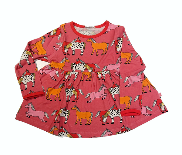 SMAFOLK organic cotton dress HORSES/ROSE