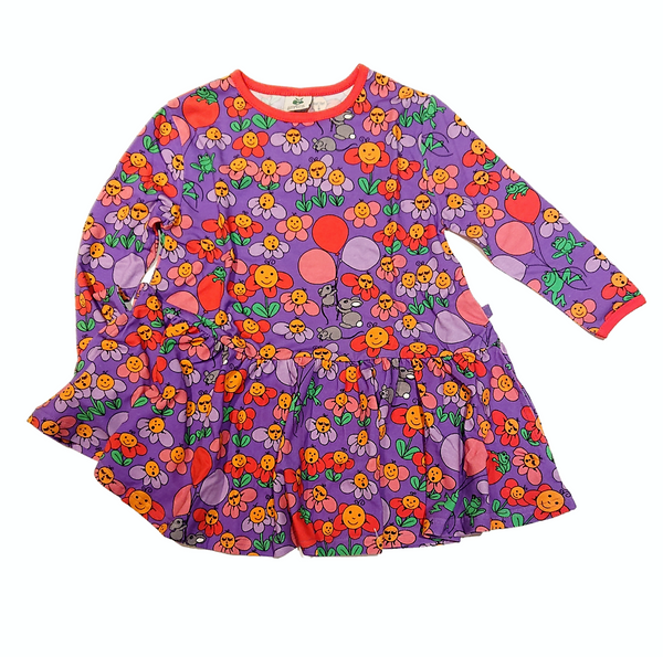 SMAFOLK organic cotton dress with pockets FLOWERS