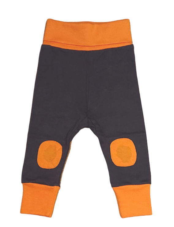 MOROMINI organic cotton baby pants CHARCOAL/ORANGE