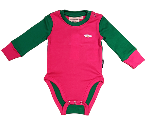 MOROMINI organic cotton bodysuit PINK/GREEN