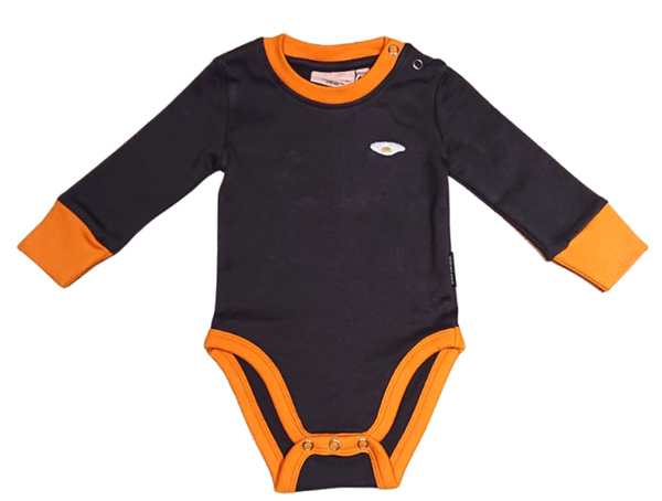 MOROMINI organic cotton bodysuit CHARCOAL/ORANGE