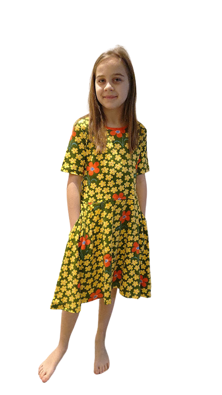 DUNS organic cotton skater dress FLOWER/OLIVE