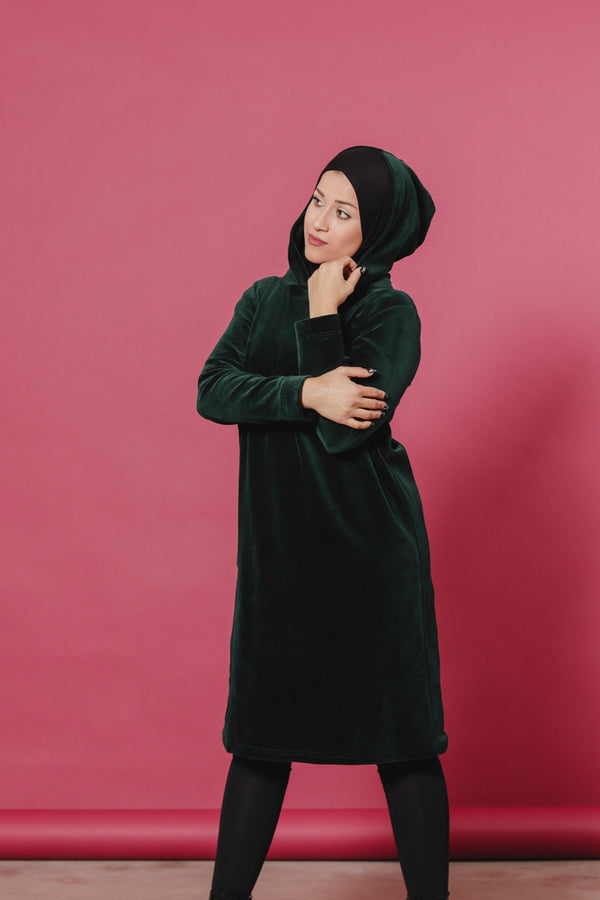 AARRE organic velour hooded dress SILVIA/green