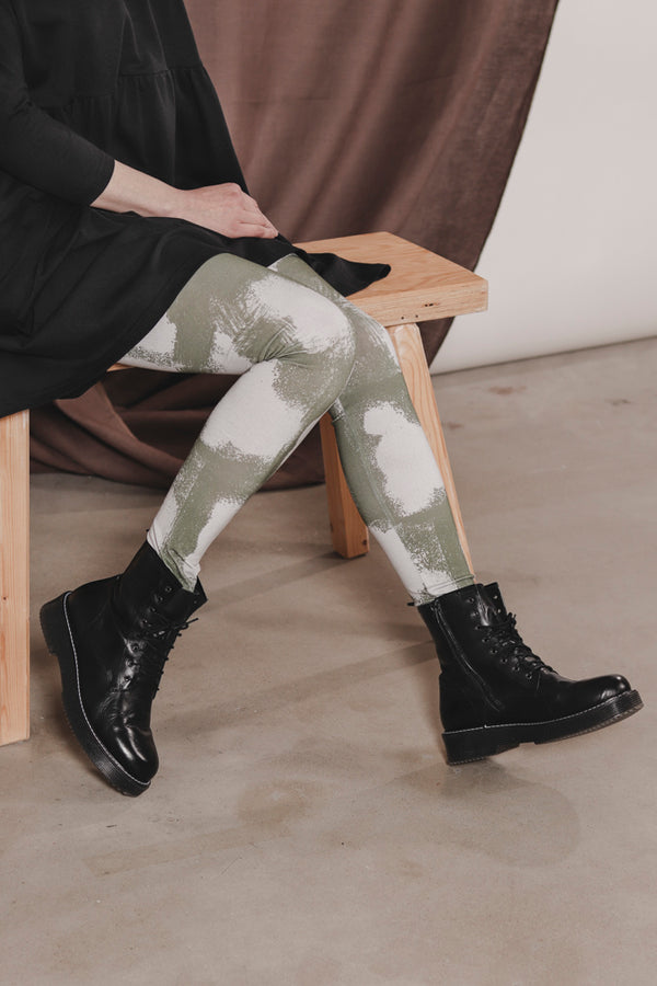 AARRE organic cotton adult leggings SPOTS/OLIVE