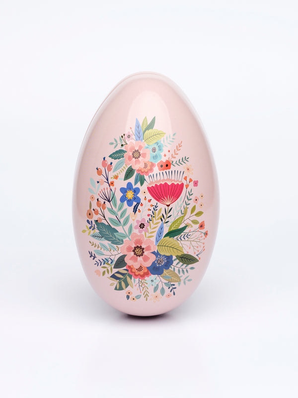 Tin Easter egg 13cm PINK FLOWERS