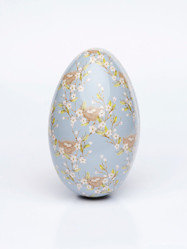 Tin Easter egg 13cm APPLE BLOSSOM