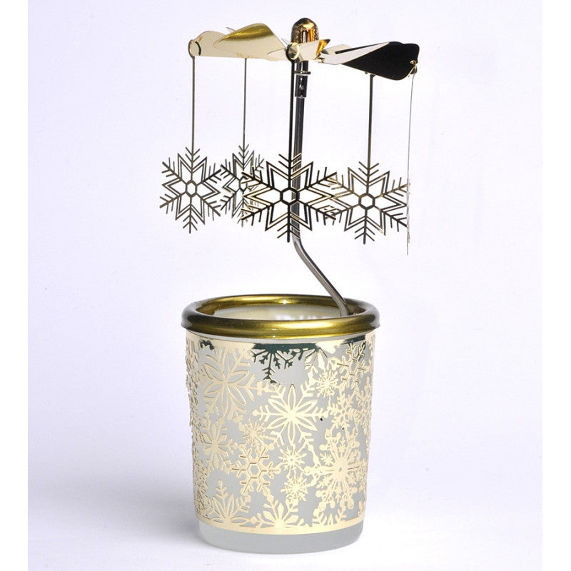 SNOWFLAKES/GOLD glass and metal rotary candle holder