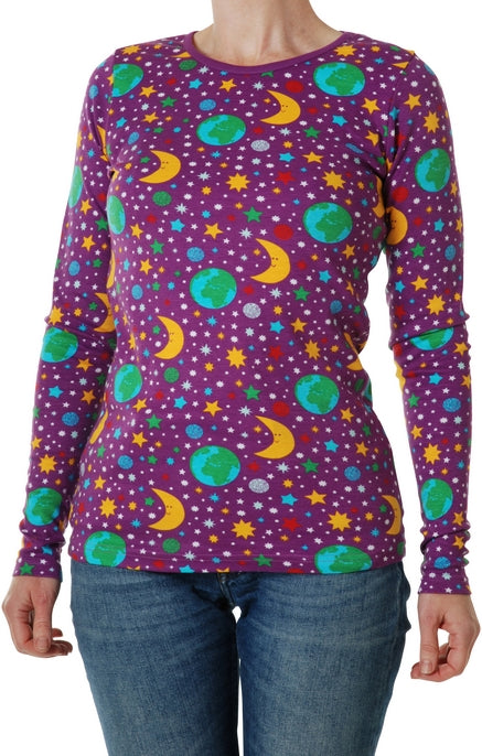 DUNS organic cotton long sleeved top ADULTS - MOTHER EARTH - VIOLET