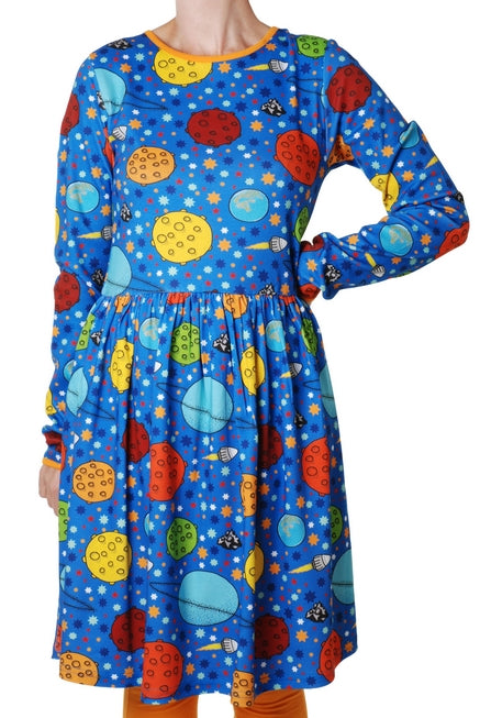 DUNS SWEDEN organic cotton long sleeved twirly ADULT dress LOST IN SPACE/BLUE