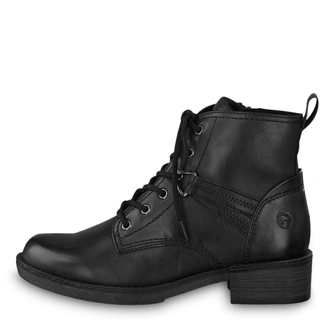 Tamaris 25116 Flat Black Lace up ankle boot with zip