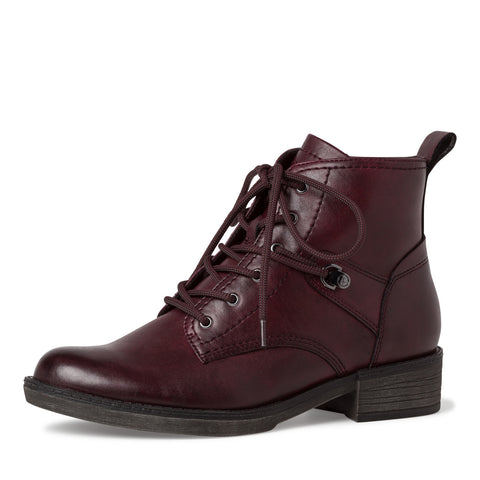 Tamaris by Wortmann 25116 Wine Lace up ankle boot with zip