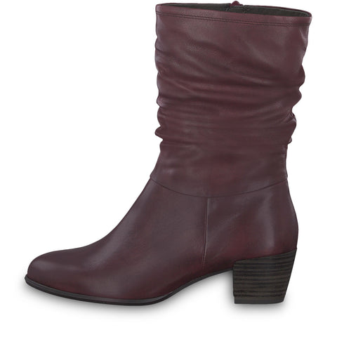 TAMARIS LADIES 25339 HEEL CALF BOOTS IN Bordo
