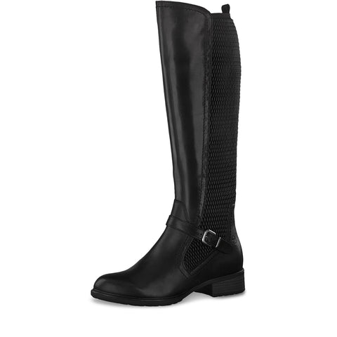 Tamaris Long Boot with stretch inserts 25511 BLACK Leather