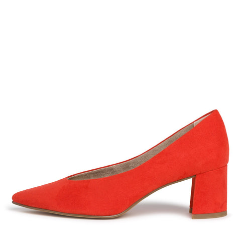 Marco Tozzi 22416-34 Fire Orange Suede Court Shoe