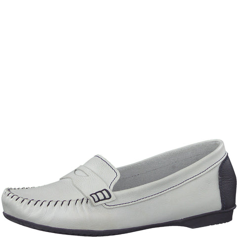 Marco Tozzi Ladies 24225-22 WHITE/NAVY Moccasin Slip On Casual Shoe
