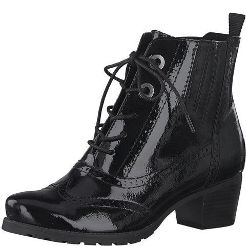 Marco Tozzi 25123 Black Patent Brogue Ankle Boot with Zip