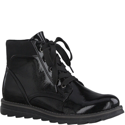 Marco Tozzi 25295 BLACK  Patent Lace Up ankle Boot