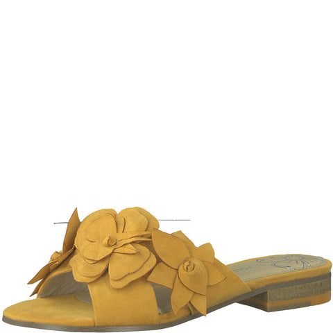 Marco Tozzi Ladies 27102-22 YELLOW faux suede mule with flower trim