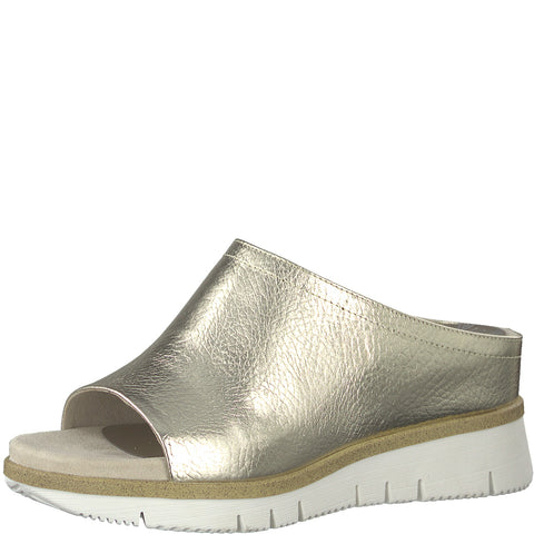 Marco Tozzi Ladies 27201-22 PLATINUM High front wedge mule Sandal