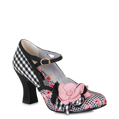 Ruby Shoo  Dee court shoe Black/Pink.  Matching Belfast bag also available