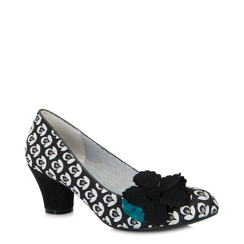 Ruby Shoo Samira court shoe Black/turquoise. Matching Pisa bag also available