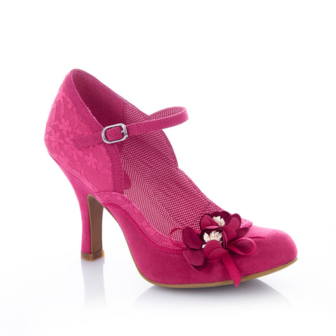 Ruby Shoo Silvia Court Shoe in Fuchsia Pink Lace