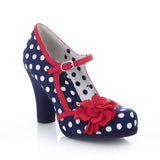 Ruby Shoo Hannah Court Shoe in Navy Spot