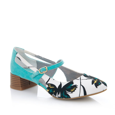 Ruby Shoo Iris Court Shoe in Aqua Floral