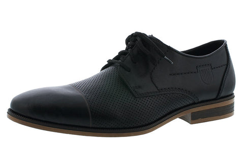 Rieker Mens 11615-00 black leather lace shoe