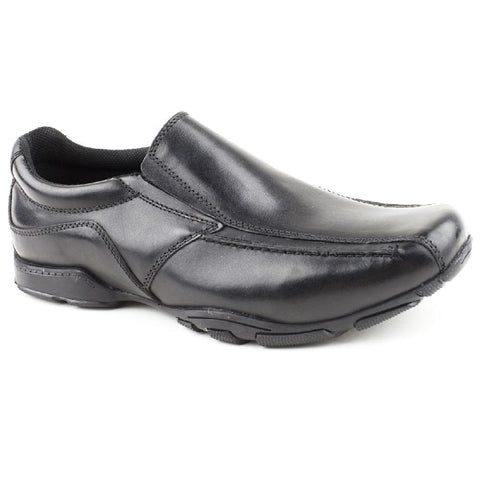 Hush Puppies Bespoke BLACK Leather Slip On school Shoes