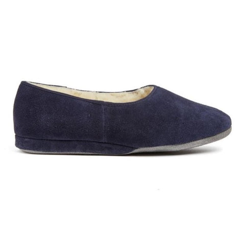 Morlands Ladies Ayr Navy Suede Sheepskin lined Slipper