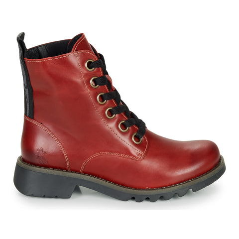 Fly London Ragi RED Soft Leather Military Style lace walking  Boot