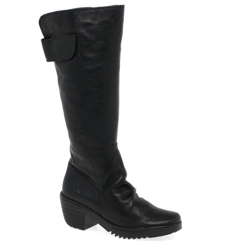 Fly London Waki BLACK Soft Leather Knee High Boot