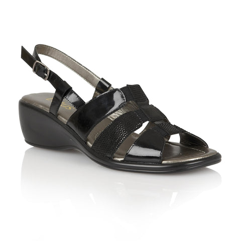 Lotus 20142 Lantic Women's Sling back sandal in Black patent