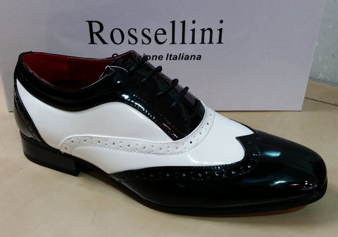 Rossellini Borsalino Black & White Patent Leather Lined Dress shoes