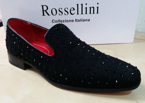 Rossellini Baldoria  Spiked Loafer Leather Lined Studded Shoes in Black Suede
