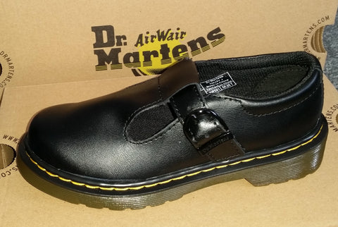 Dr Martens Kids Polley J  BLACK Leather Shoe
