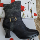 Laura Vita Gicgaso 33 NOIR Embossed Leather Boot