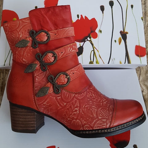 Laura Vita Alcexiao 13 ROUGE Embossed Leather Boot