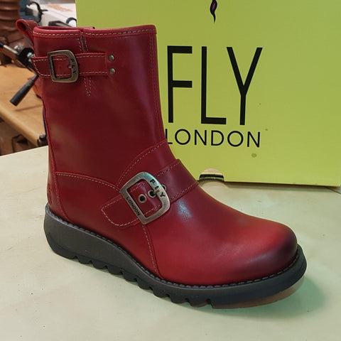 Fly London Sino RED Leather Ankle Boot