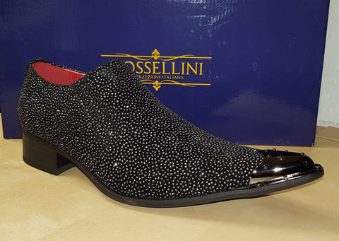 Rossellini Benitez Metal Toe Winkle Pickers Black Carlo Print Slip on Shoes