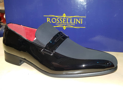 Rossellini BLACK MONEESE Leather Lined Black Patent & Suede Slip On Shoe