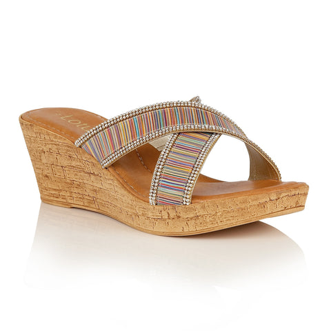 Lotus 20200 Arika Women's Wedge Mules in Rainbow