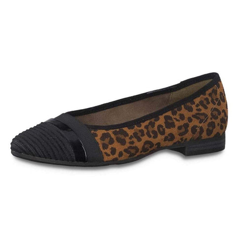 Jana 22165 BLACK LEOPARD Court shoe pump